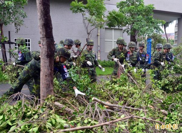 蘇迪勒颱風災造成台北市到處都是傾倒的路樹,國軍今早協助台北市府進行災後復原工作。(記者王藝菘攝)