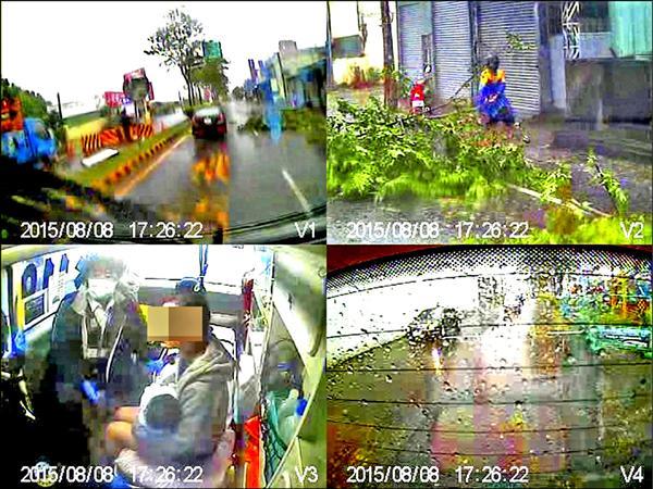 年輕媽媽抱著全身抽搐的6月大嬰兒,坐在救護車上(左下格),右上格清楚可見穿雨衣的機車騎士把斷枝拖往路邊,讓救護車通過。(記者陳鳳麗翻攝)