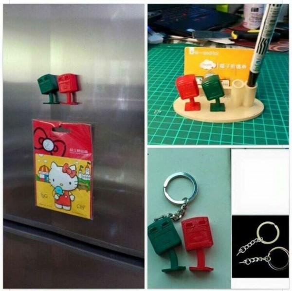 有網友PO出照片,指中國業者已經著手製作歪腰郵筒的文創品,包括筆架、磁鐵與鑰匙圈,若屬實中華郵政恐失去先機。(翻攝Namoh Nofu Pacidal臉書)