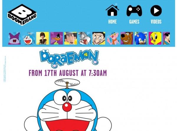 「Boomerang」官網也已經放上《哆啦A夢》的播出預告以及片頭、片尾曲短片,供當地觀眾先睹為快。(圖擷取自網路)