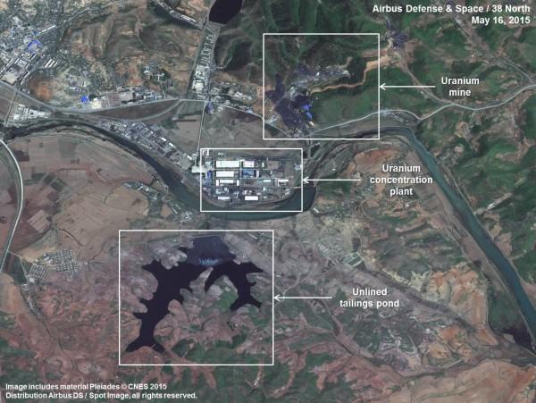 美國核專家指出,北韓過去一年正在平山的鈾礦附近,對一間鈾工廠進行大規模整修。(圖擷自「38north」網站)