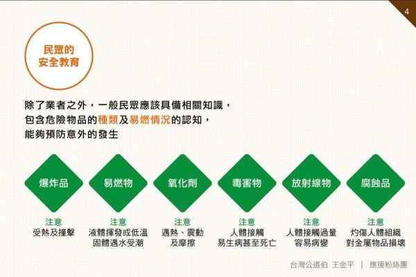 台灣公道伯指出一般民眾應具備危險物品的相關知識,包括種類及對人體的危害等。(圖擷取自台灣公道伯 王金平臉書粉絲團)