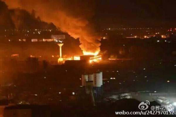 中國繼天津大爆炸後,昨晚遼寧又驚傳爆炸事故。(圖擷自微博)
