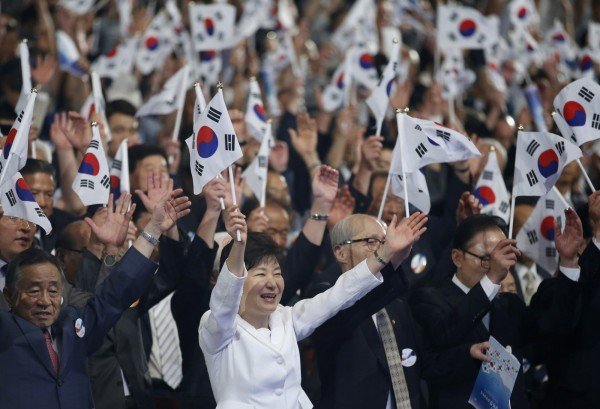 朴槿惠今天上午在首爾的世宗文化會館參與70週年光復節儀式,並發表慶祝演說。(美聯社)