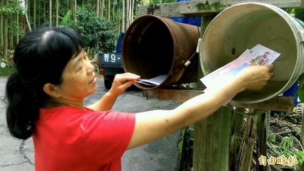 集集鎮富山里居民自製「雙筒」信箱,讓社區住戶方便分類收取信件。(記者劉濱銓攝)
