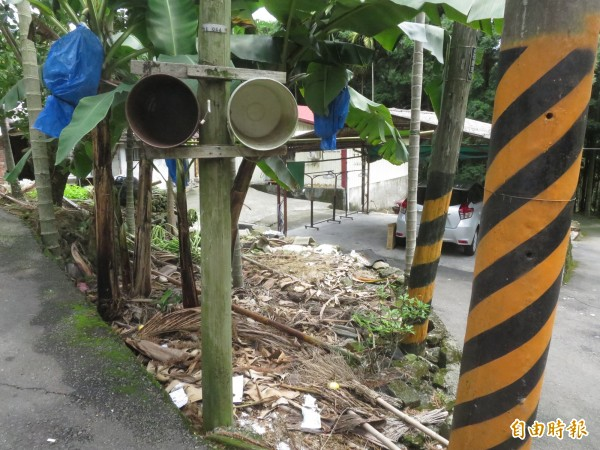 「空桶綁電桿」,集集鎮富山里的奇特「裝置」,讓外地人搞不清楚是甚麼用途。(記者劉濱銓攝)
