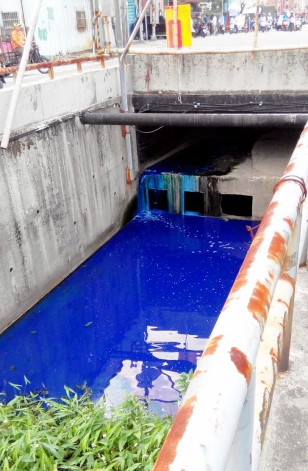 樹林潭底溝遭工廠排放染料廢水,數百公尺染成湛藍色。(新北市環保局提供)
