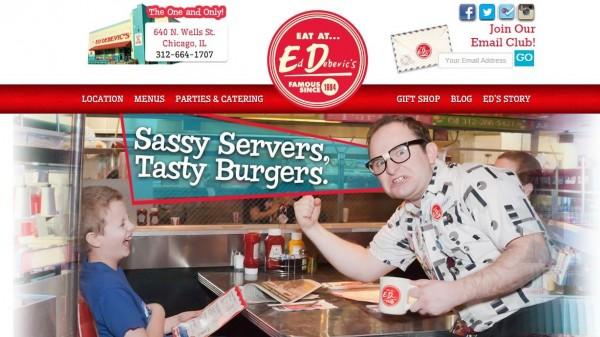 美國芝加哥一家餐廳「Ed Debevic's」打破以客為尊的服務業形象,官網標語打著「美味漢堡、惡劣服務」的招牌。(圖取自官網)