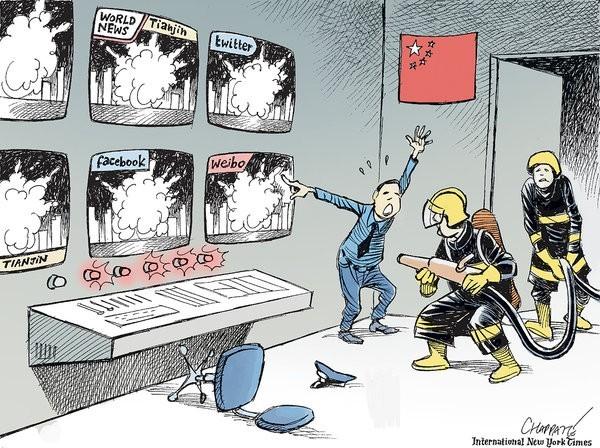 天津發生爆炸後,中國官方試圖控制民眾日益高漲的怒氣,但對於網路抨擊和質疑的言論,卻被迅速刪除,反而讓民眾更加不信任政府。圖為《紐約時報》諷刺中國企圖消滅言論的漫畫。(圖擷自《紐約時報》)