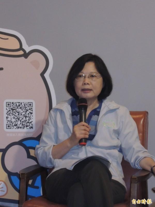 民進黨總統參選人蔡英文表示,台灣社會強烈期待著不一樣的未來。(記者丁偉杰攝)