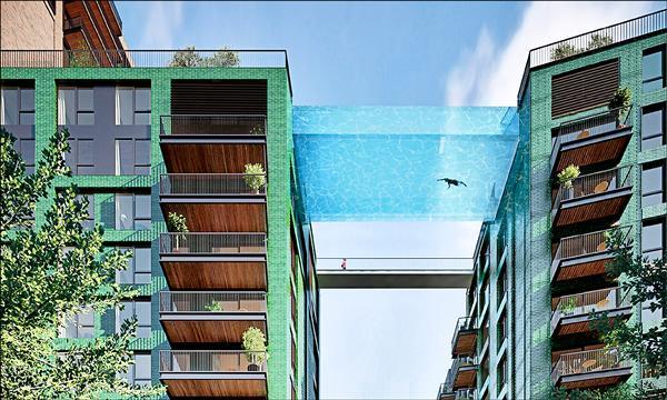 英國豪宅再創巔峰,「天際泳池」不是夢,一邊游泳、一邊俯瞰倫敦美景有望於2017年實現。(取自網路)