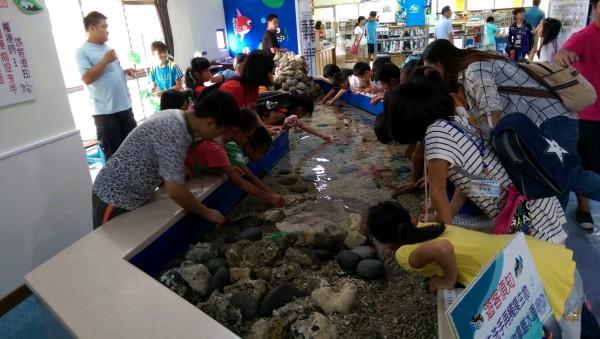 認識珊瑚礁魚類,家扶學童驚呼好有趣。(記者陳賢義翻攝)