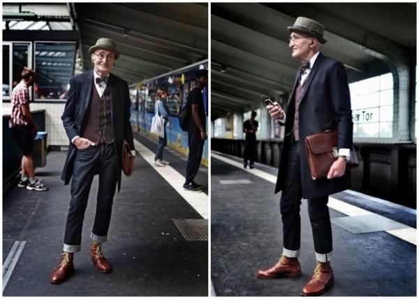 德國老爺爺克拉本赫夫特(Günther Krabbenhöft)日前在柏林被拍到一身「超潮」穿搭,在網路爆紅。(圖擷自網路)