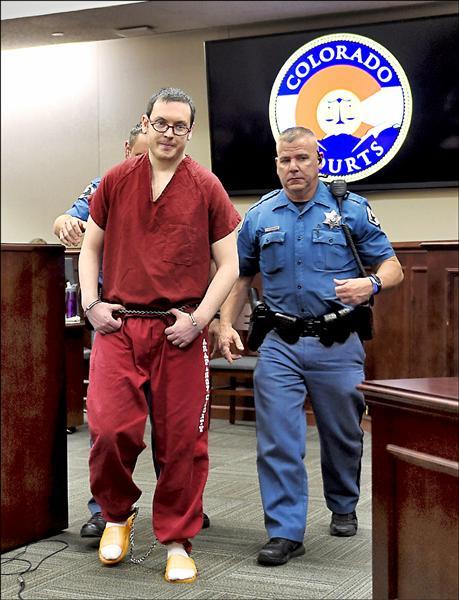 美國科羅拉多州丹佛市電影院濫射事件,凶手荷姆斯被判十二個無期徒刑。(路透)