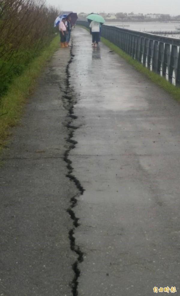 北門蘆竹溝海堤今天出現龜裂達150公尺長。(記者楊金城攝)