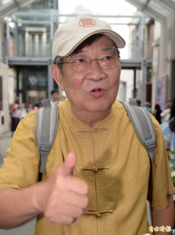 世新大學教授王曉波,力挺連戰去中國閱兵。(記者王敏為攝)