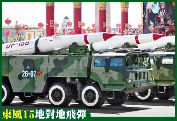 「東風15」在20年前台海危機至少發射10枚,此次閱兵可能展示最新的丙型。圖為2009年北京閱兵展示的東風15乙型。(歐新社資料照)