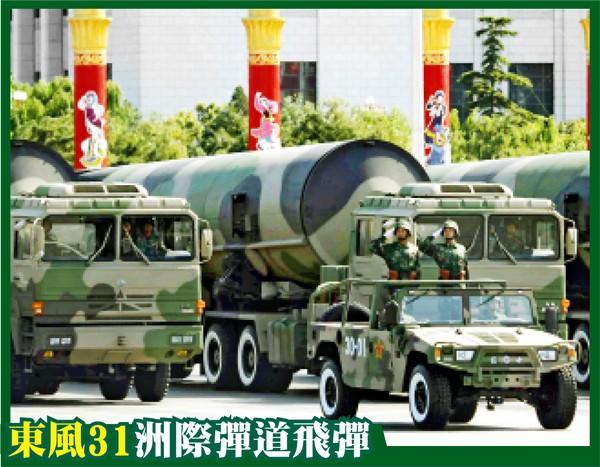 「東風31」射程可達美國本土,此次閱兵可能展示最新的丙型。圖為2009年北京閱兵展示的東風31甲型。(路透資料照)