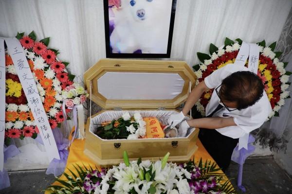 中國上海一名大媽日前為去世的寵物狗舉辦豪華葬禮,引發網友討論。(圖擷自CCTV)