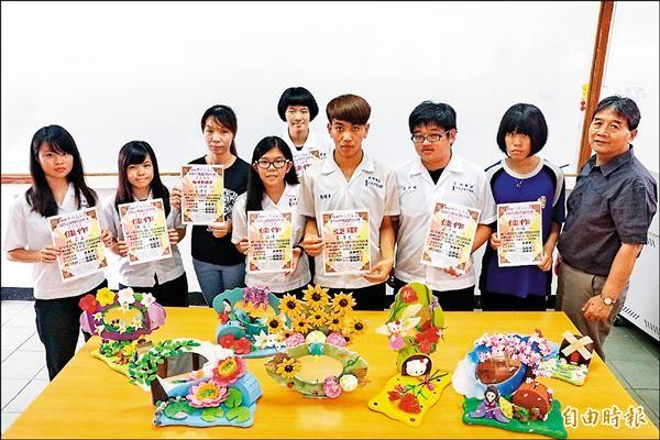 亞洲餐旅學校學生作品在今年中原盃全國黏土立體捏塑造型創意大賽獲得高中職、技專、大學組個人全國第二名及六項佳作。(記者王俊忠攝)