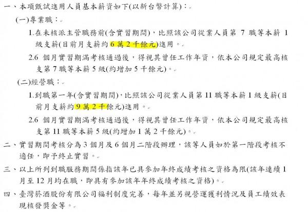 台灣菸酒公司最近發佈職缺,最高薪可上看92K,引起民眾熱烈討論。(圖擷取自台灣菸酒股份有限公司官網)