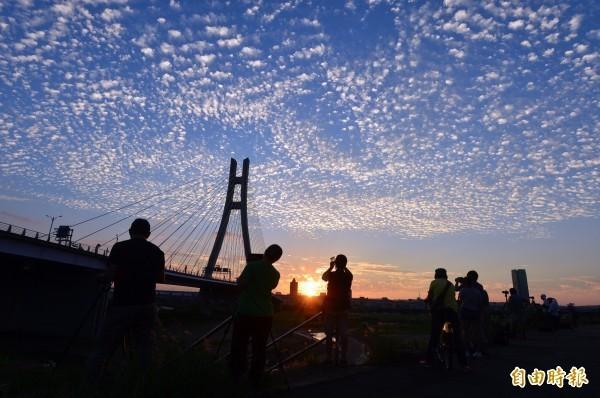 昨(9日)台北的天空出現一朵朵白雲,形狀可愛,不少民眾也拿起手機、相機,捕捉這特別的景象。(資料照,記者王藝菘攝)