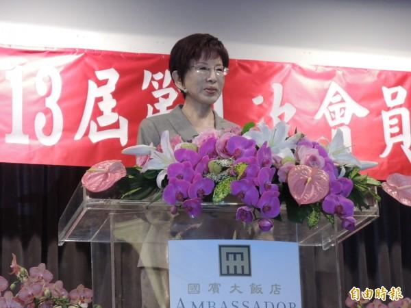 對於美國學者日前提到,台灣下屆總統必須接受「九二共識」,洪秀柱說「九二共識是常識」。(記者王榮祥攝)