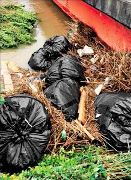 日本福島輻污垃圾的大型太空袋,上週因大雨被沖入河川。(取自網路)