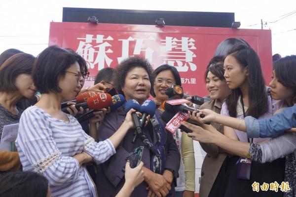 高雄市長陳菊認為民進黨總統參選人蔡英文「跟我這個世代的政治工作者,那種熱情中帶一點悲情是不一樣的」。(記者張安蕎攝)