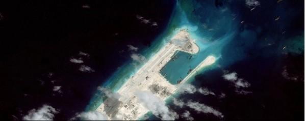 美國衛星拍攝到中國並未停止南海造陸作業。(擷取自華盛頓郵報)