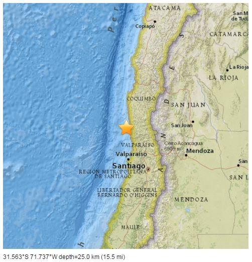 智利發生芮氏規模8.3的強震。(圖擷取自美國地質調查所)