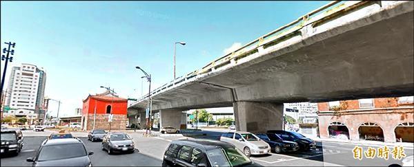 為重現「古蹟北門」,市府編列三億預算要拆除忠孝橋引橋。(記者何世昌攝)