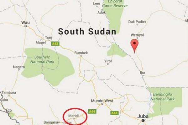 南蘇丹共和國十六日發生重大意外事故,一輛油罐車不慎偏離路面翻覆漏油,引發爆炸。(圖擷取自Google Map)