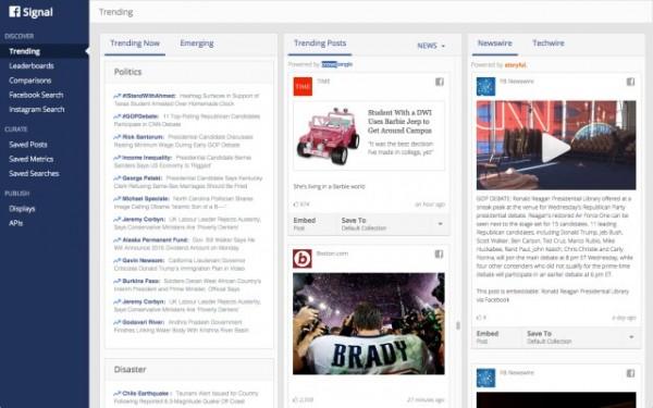 臉書今天公佈了新工具「信號」(Signal),可協助記者使用臉書和Instagram追蹤重大新聞與趨勢。(圖取自Facebook Media)