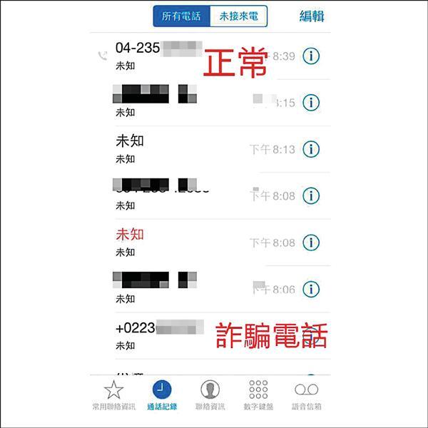警方提醒看到來電顯示號碼前有「+」號的電話,有可能是詐騙電話,儘量不要接。(記者姚岳宏翻攝)