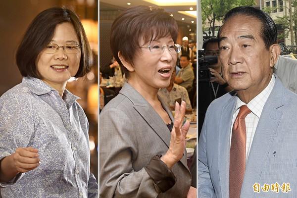 台灣智庫發佈總統大選民意調查結果,蔡英文(左)支持度為47.6%,領先洪秀柱(中)的16.3%,以及宋楚瑜(右)的13.9%。(本報合成)