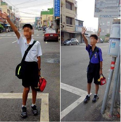蔡傑爸表示,兒子為了上學搭公車,一整個暑假都在練習招車的手勢。(圖擷取自蔡傑爸臉書專頁)