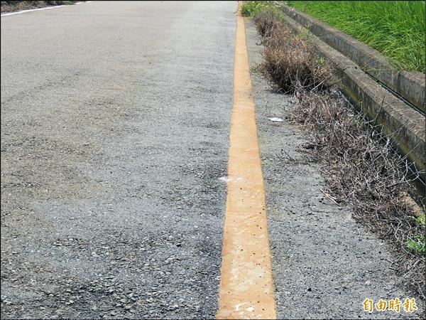 苑裡農田遭廢水污染,竟連農田旁路邊白色線竟也被染成棕紅色。(記者蔡政珉攝)