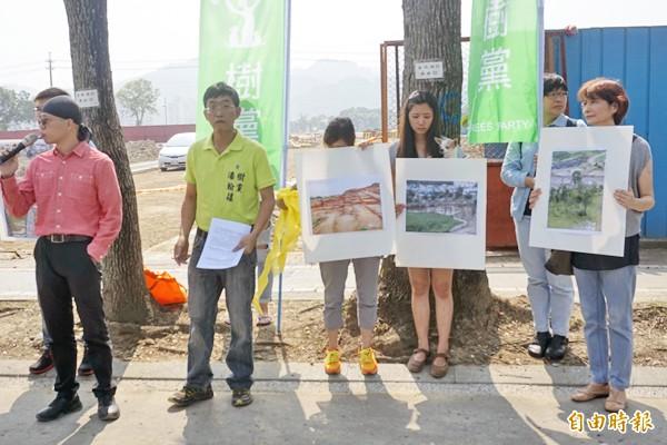 樹黨、土城護樹者聯盟、台灣樹人會、土城愛綠聯盟、普安堂等團體指控,土城暫緩發展區是「五星級虐樹區」。(記者張安蕎攝)