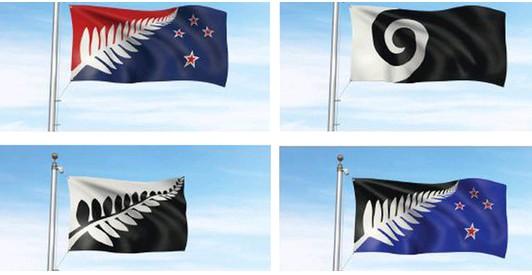 另外4面候選國旗,皆以「銀蕨」作為主題。(圖取自New Zealand Herald)