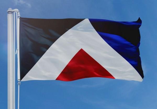 「紅色高峰」以紅、黑、藍、白等多個三角形組成。(圖取自aotearoaflag.tumblr.com)