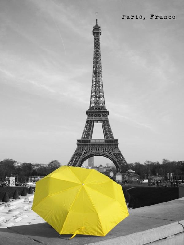 圖為阮先生在法國巴黎鐵塔拍攝的照片。(圖擷自《在世界看見雨傘 The traveling umbrella》臉書專頁)