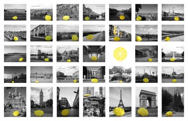 香港雨傘運動即將滿週年,一名旅歐的港人在各國旅遊時都帶著黃傘和景點拍照紀錄。(圖擷自《在世界看見雨傘 The traveling umbrella》臉書專頁)