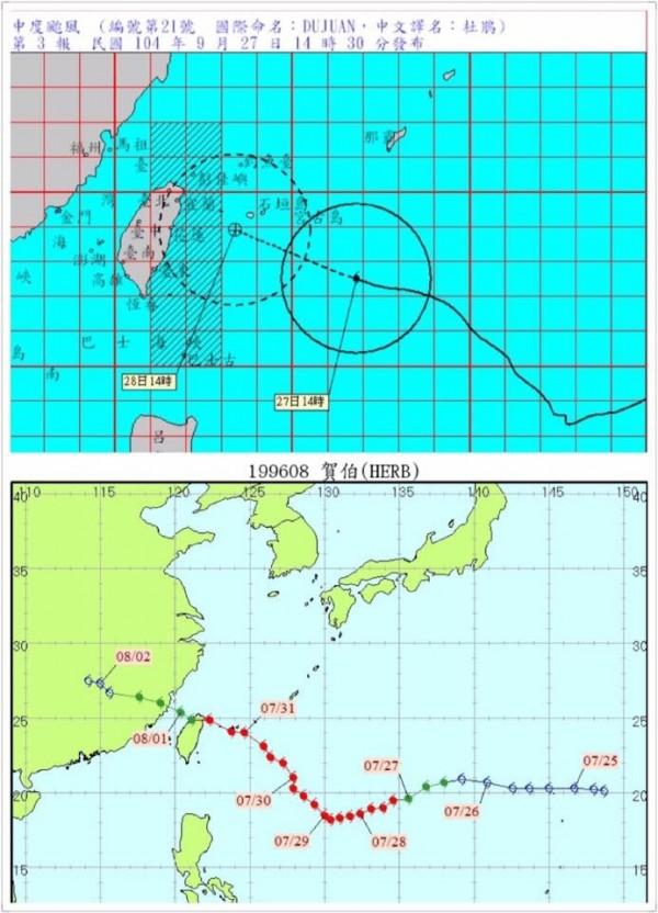 游錫堃拿出賀伯與杜鵑的路徑圖,提醒群眾嚴防颱風,做好防颱準備。(圖擷取自游錫堃臉書)