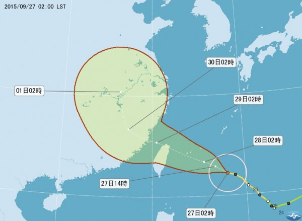 氣象局說,今天凌晨2時中心位置在花蓮東南東方約690公里的海面上,向西北西移動。(圖取自氣象局)