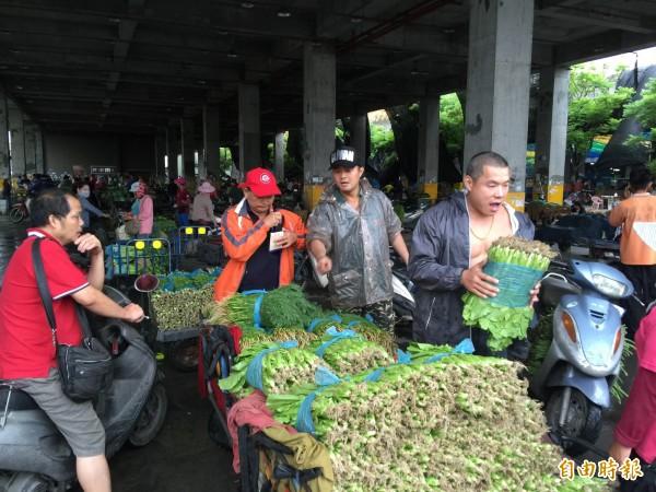 颱風來襲,西螺果菜市場今日交易菜價全上漲。(記者黃淑莉攝)