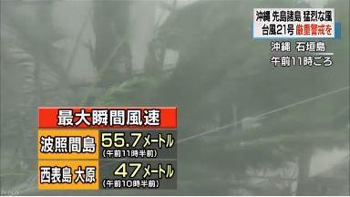 強颱「杜鵑」為先島諸島帶來強烈陣風及降雨,波照間島於當地時間11點30分測出最大瞬間風速每秒55.7公尺,西表島則是於當地時間10點30分測出每秒47公尺。(圖擷取自NHK)