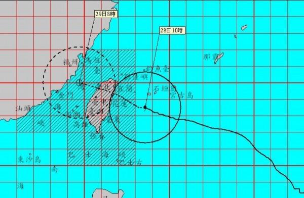 強烈颱風杜鵑直撲台灣,預計晚間9點前後從宜蘭、花蓮一帶登陸。(圖擷取中央氣象局臉書)
