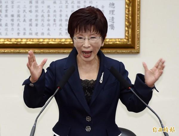 賴清德今日公開表示「我支持台灣獨立」,洪秀柱表示,她雖然不認同賴的台獨理念,但肯定賴前後一貫的態度,藉此諷刺蔡英文立場反覆。(資料照,記者廖振輝攝)