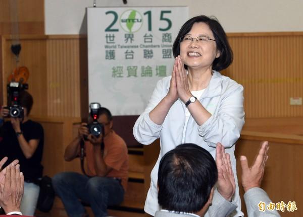 民進黨總統參選人蔡英文。(資料照,記者羅沛德攝)